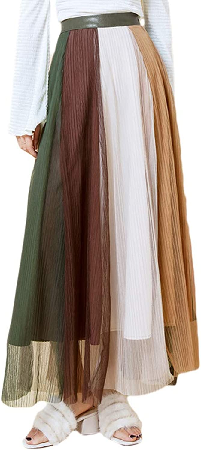 HitZoom Spring Autumn Sweet color Block Layered Tulle ALine Puffy Midi Skirts