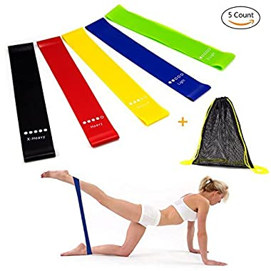 Resistance Bands, UJoylify Exercise Bands for Women - Resistance Loop Bands for Legs and Butt - Workout Bands for Home GYM Fitness,5 Set with Carry Bag