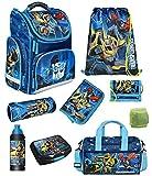 Transformers - Juego de mochila escolar (9 piezas, mochila escolar con bolsa de deporte, color azul Optimus Prime Bumblebee y robot de coche, protección contra la lluvia)