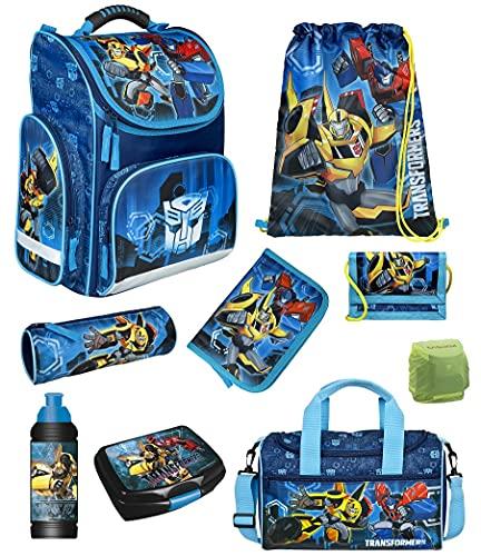 Transformers Schulranzen-Set 9-tlg. Modell CLOU Ranzen 1. Klasse | Schultasche mit Sporttasche | Blau Optimus Prime Bumblebee Auto-Roboter | Regenschutz