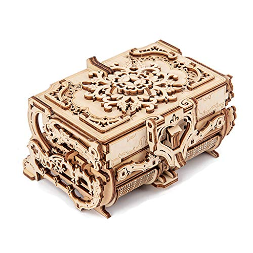 Kdjsic 3D montado creativo, puzle de madera, transmisión mecánica antigua caja de joyas modelo juguete