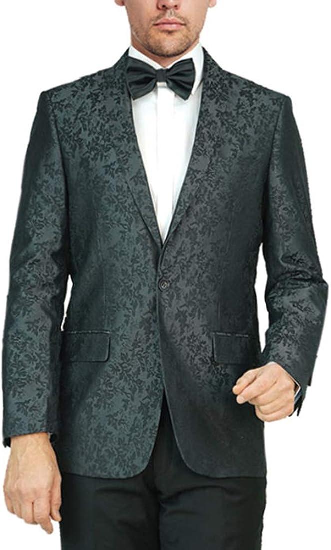 Adam Baker Men's Regular Fit Dinner Jacket Jacquard Floral Design Shawl Collar Wedding Tuxedo Blazer