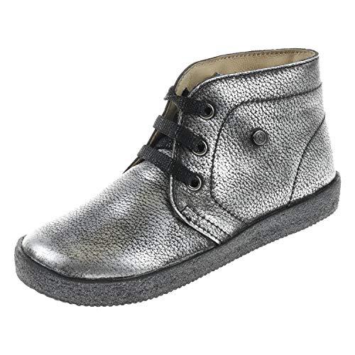Falcotto. Kinder Schuhe für Mädchen Stiefel Stiefelette Lam Brush Acciaio Silber 0012011454129212 (24 EU)