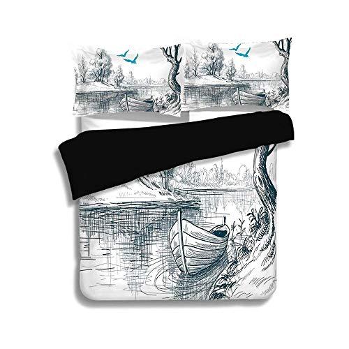 Schwarzer Bettbezug Set, Lake House Dekor, Boot auf ruhigen Fluss Bäume Vögel Zweige Skizze Zeichnung Clipart Wasser minimalistisch, weiß grau blau, dekorative 3 Stück Bettwäsche Set von 2 Pillow Sham