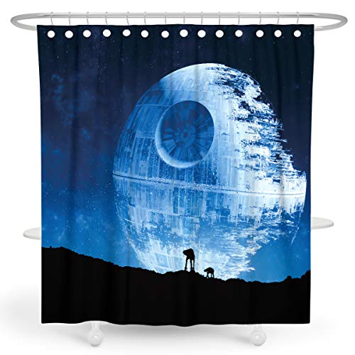 Foronly Blue Star Duschvorhang, War Dark Night Black Shadow Wall Planet Infinity Sky Fancy Stoff Wasserdicht Polyester Home Badewanne Decor 12 Pack Kunststoff Haken 183 x 183 cm