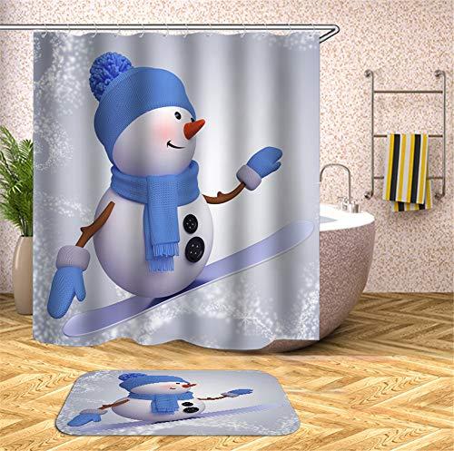 ZZZdz Der Schneemann Trat Auf Das Skateboard. Duschvorhang. Hochauflösender 3D-Druck, Kein Ausbleichen, Leicht Zu Reinigen, 180 X 180 cm. Bodenmatte, 40X60Cm.