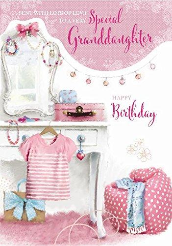 Speciale kleindochter Dressing Tafel Kleding & Tas Ontwerp Grote Gelukkige Verjaardagskaart