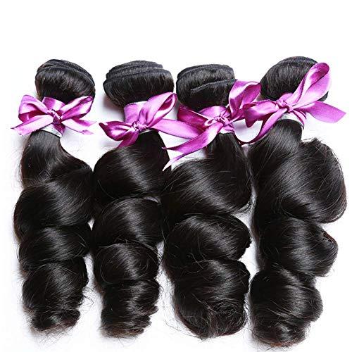 Perstar Human Hair Bundles Loose Wave Bundles Brazilian Virgin Hair Loose Wave 4 Bundles Virgin Remy Human Hair Extensions Unprocessed Virgin Natural Wave Human Hair Bundles(1416 18 20)