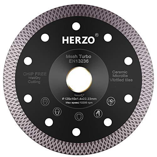 HERZO Professional Diamanttrennscheibe 125 mm, Premium Diamant-Trennscheibe für Fliese und Feinsteinzeug