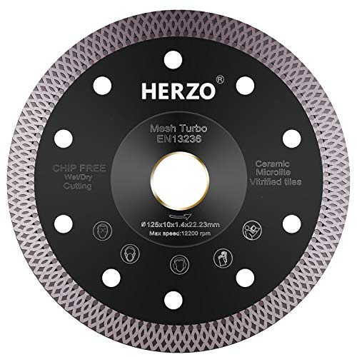 Disco de corte de diamante 125 mm HERZO. Disco Diamante para corte de Porcelanico,Cerámica dura,Azulejos,Mármol,Granito,Piedra caliza