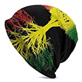 Women Men Stylish Hip-hop Slouchy Beanie Hat Stretchy Soft Daily Skull Cap Lightweight Stretch Sleep Hat - Rastafarian Reggae Rasta Style Tree