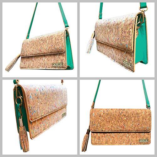 Amalite Vegan Handbag, Cork Crossbody Clutch Bag with Removable Strap