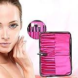 Bolso de maquillaje portátil de piel sintética con 12 compartimentos con cremallera, para maquillaje, cinturón, cosméticos, funda de piel, brochas de maquillaje, para mujer, color negro