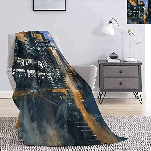 Futuristic Flannel Throw Blanket For Couch Digital Paint Science Ficti