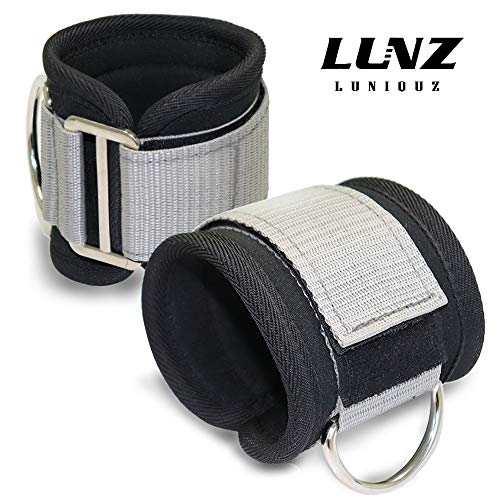 Luniquz Gym Ankle Strap for Cable Machines, Adjustable Ankle Wrist Cuffs Attachment for Kickbacks,Leg Extension,Glute,Curls,Hip Abductor