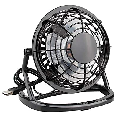 USB Fan Mini USB Desktop Fan Office Personal Fan Portable Summer Cooling Fan with 360 Rotation (Black)