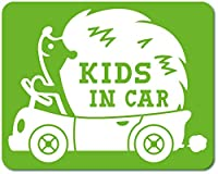 imoninn KIDS in car ステッカー 【マグネットタイプ】 No.37 ハリネズミさん (黄緑色)