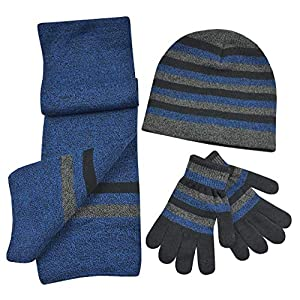 N'Ice Caps Kids Reversible Knitted Hat/Scarf/Magic Stretch Glove Accessory Set