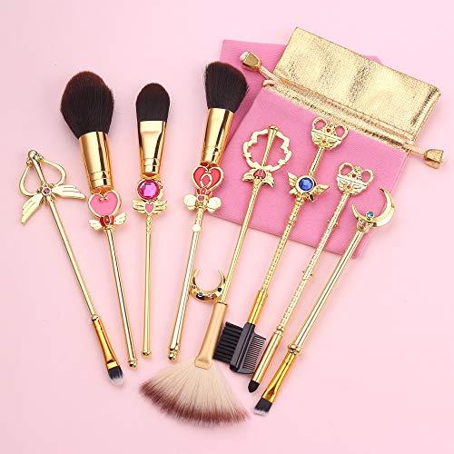 ZYC Sailor Moon Golden Magic Girl Pinceaux de Maquillage Ensemble Fondations Mélange Poudre Ombre À Paupières Contour Blush Cosmétique Outils Beauté,A