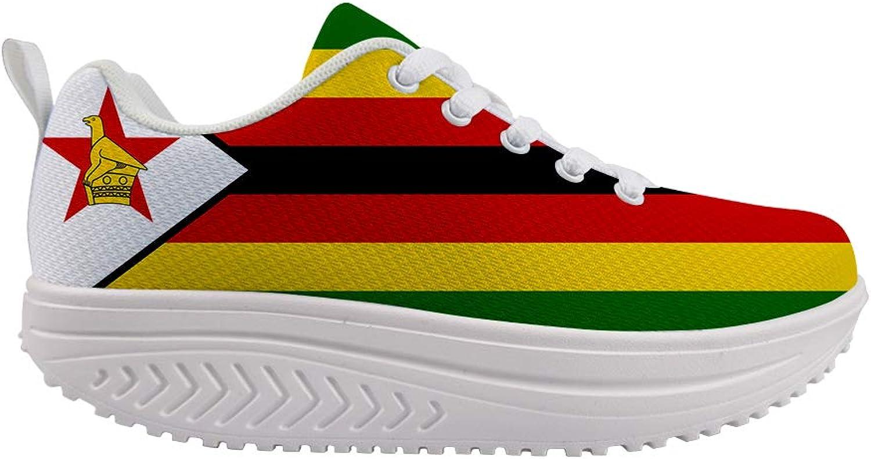 Owaheson Swing Platform Toning Fitness Casual Walking shoes Wedge Sneaker Women Zimbabwe Flag