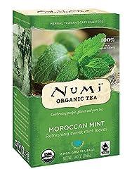 Numi Organic Tea Moroccan Mint, 18 Count Box of Tea Bags, Herbal Teasan
