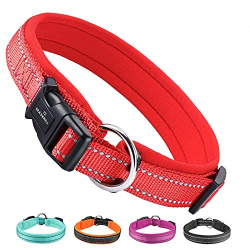 MASBRILL Collar de Perro Duradero y Reflectante, Ajustable Collar para Perros Grandes o Pequeños, Fabricado de Nylon con Suave Acolchado (Rojo S)