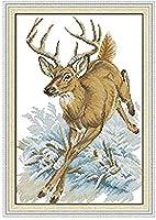 クロスステッチ キット、大人の初心者 刺繍 手芸用品、鹿の壁掛け、11CT 手芸 プリント刺繡 図柄印刷 初心者 刺繍糸 針 布 家の装飾 壁の装飾 40×50cm