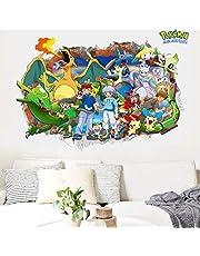 Muursticker 3D Pokemon Pikachu Muurstickers Vinyl Muurschilderingen Kinderkamer Decoratie 60X90Cm