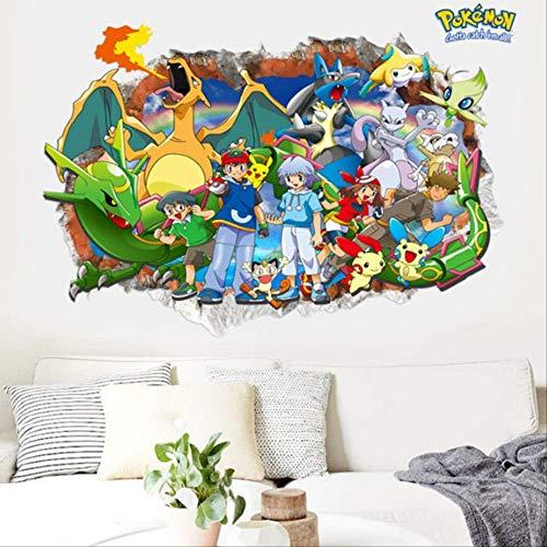 Sticker Mural 3D Pokemon Pikachu Stickers Muraux Autocollants Muraux En Vinyle Décoration De La Chambre Des Enfants 60X90 Cm