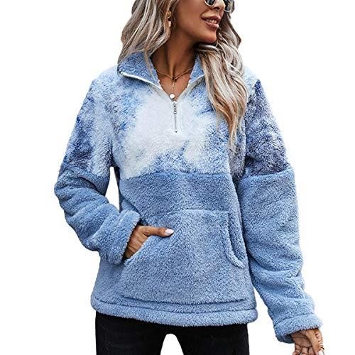 LIVACASA Bluza damska zimowa, ciepła bluza z kapturem, oversized, miękka bluza z polaru, sweter z długim rękawem, z dużą kieszenią, 12 kolorów
