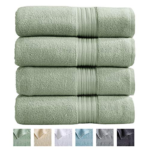Great Bay Home 4-Pack Bath Towel Set. 100% Cotton Bathroom Towels. Absorbent Quick-Dry Plush Bath Towels. Cooper Collection. (Bath Towels, Seagreen)