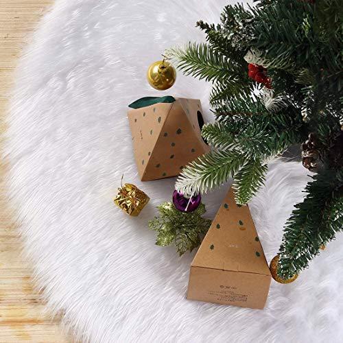 Gonne Albero di Natale Gonna Per Albero Bianca InTessuto Peluche 122cm Gonna Per Albero In Pelliccia Sintetica Ornamenti Natalizi (bianco, 122cm)