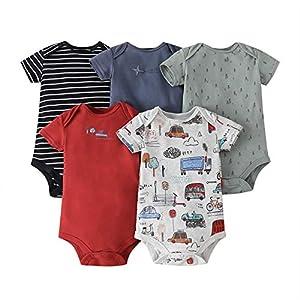 amropi Bebé Niños Body Pack de 5 Mono Mameluco Manga Corta Niñas Algodón Pelele Conjuntos Negro/Rojo/Blanco,18-24 Meses