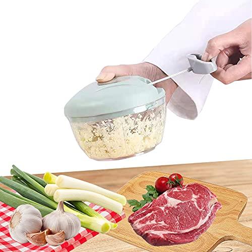 WZCLMSE Trita aglio manuale, tritaghiaccio da cucina, tagliaverdure, frullatore, adatto per tritare frutta, verdura, noci, erbe, cipolle, aglio, ecc. (verde, 52,5 x 43 x 56)