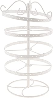 Baoblaze Antique Metal Rotating Earring Holder Rack 4 Tiers Earring Organization Stand - White, as Described