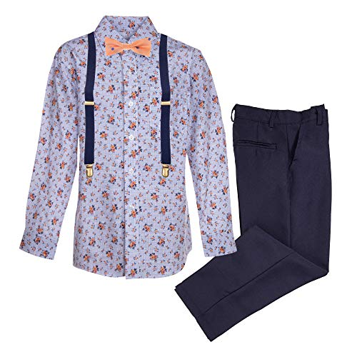 Vittorino Boy's 4 Pc Formal Suspender Set with Pants Shirt Tie and Suspenders,Navy/Lb Floral, 8