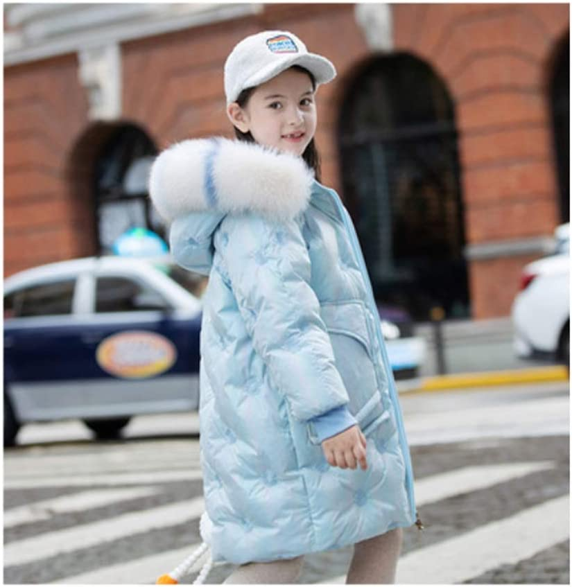 Girls Winter Down Jacket Long Puffer Lightweight Coat Thick Padded Soft Fleece Jacket with Hood Winter Essential Coat (Color : Blue, Size : 150)