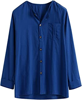 Men Hippie Long Sleeve Shirts Casual Pure Color Button Down Shirt Comfy Loose Tops Blouse with Chest Pocket