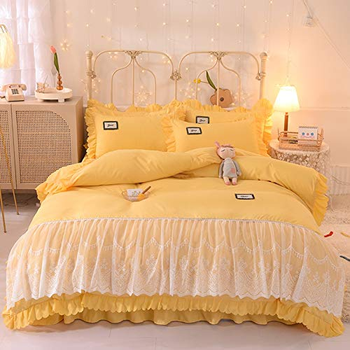 ARLT Bedding Set White Lace Edge Duvet Cover 1.5M 1.8M 2M Bed Skirt Or Bed Sheet Pillowcase Home Textile Luxury Korean Princess Style (Color : 6, Size : 1.8M Bedskirt 4pcs)