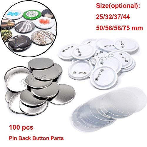 100 Sets Pin Back Button Parts for Badge Maker Machine Button Made DIY Crafts and Children's Craft Activities (37mm 1½ inch)