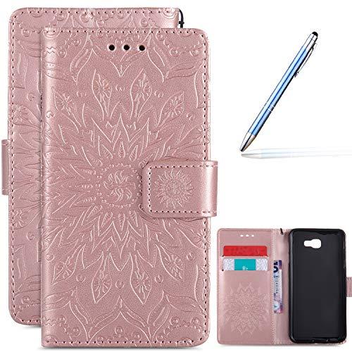 Robinsoni Estuche Compatible con Samsung Galaxy J5 Prime, PU Funda de Cuero con Estilo de Libro Cubierta Impreso 3D Funda Magnética para Teléfono de Samsung Galaxy J5 Prime, Oro Rosa