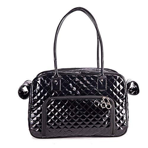 Fumeepro Haustier Hund Träger, Zwei große Rückentaschen, Hundetaschen Tote Tasche Mode PU Leder Handtasche Reisegeldbörse (Schwarz)