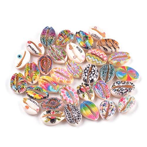 Cheriswelry 200 cuentas de concha de cowrie, sin agujeros, estilo bohemio, con estampado de flores, conchas de playa, para joyas, pulseras, pendientes