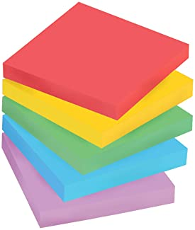 Post-it Super Sticky Notes, 3 in x 3 in, 5 Pads, 90 Sheets/Pad (654-5SSAN), Multicolor