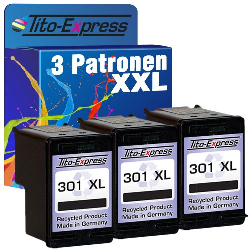 platinumserie Cartuchos de impresora compatible para HP 301XL Black & Color Deskjet 25102540254225442544AIO 300030503050A 3050AIO 3050S, color (5) 3x Black