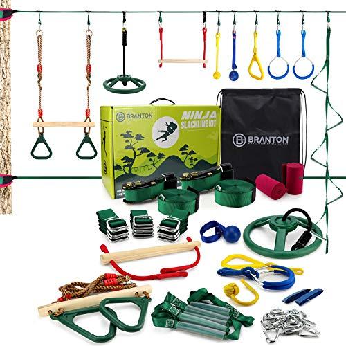 B BRANTON Ninja Warrior Obstacle Course for Kids - 2X 42FT Ninja Slackline with Most Complete Accessories for Kids, 2 Slacklines, Trapeze Swing, Webbing Ladder, Ninja Wheel