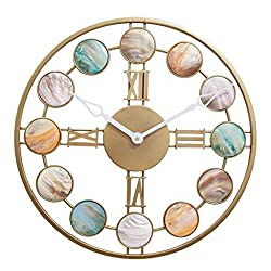 Wall Clock 20 Inch Handmade Iron Metal Combined Artwork of Deep Sea Shells Battery-Driven Silent Operation, No Ticking, Suitable for Living Room Bedroom Decoration