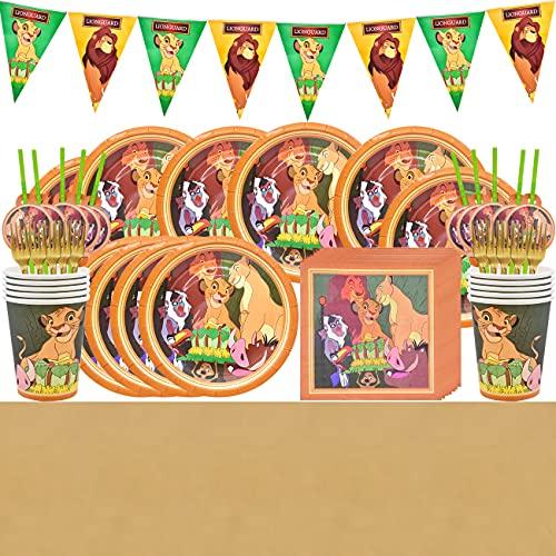 Juego de vajilla para fiestas, decoración de cumpleaños para niños, The Lion King fiestas de cumpleaños infantiles, platos, tazas, servilletas, manteles, tenedores, banners