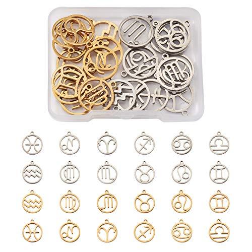 Cheriswelry 24 dijes de acero inoxidable con signo del zodiaco planos, redondos, 12 constelaciones, colgantes para hacer collares y joyas (color dorado y acero inoxidable)