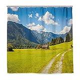 BEITUOLA Cortina Baño,Alpes Julianos Montaña Valle Rural con Casa De Madera Paraíso Imagen,Baño Lavable a Prueba de Agua,180x180cm Cortina de Ducha con 12 Ganchos